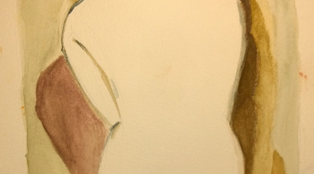 After Man Ray, White Back, watercolor by William Eaton