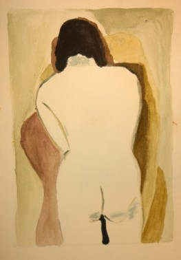 After Man Ray, White Back, watercolor by William Eaton, 3 July 2018 - 1