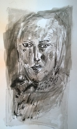 After Picasso, Portrait of Marie-Thérèse Walter, 1936, pen, ink and wash by William Eaton, Dec 2017