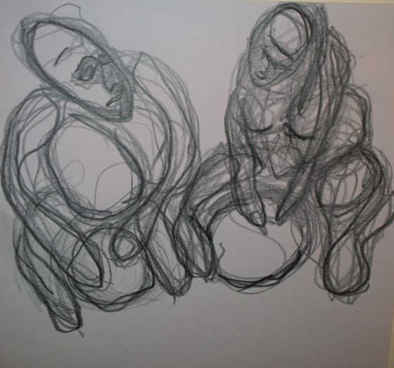 Two drummers, Woodstock Drumming Circle, graphite drawing by William Eaton