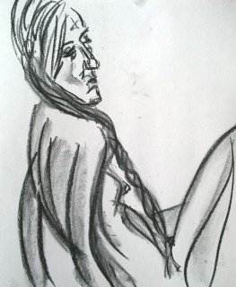 Erica, with gray wash, 24 March 2019, drawing by William Eaton - 2