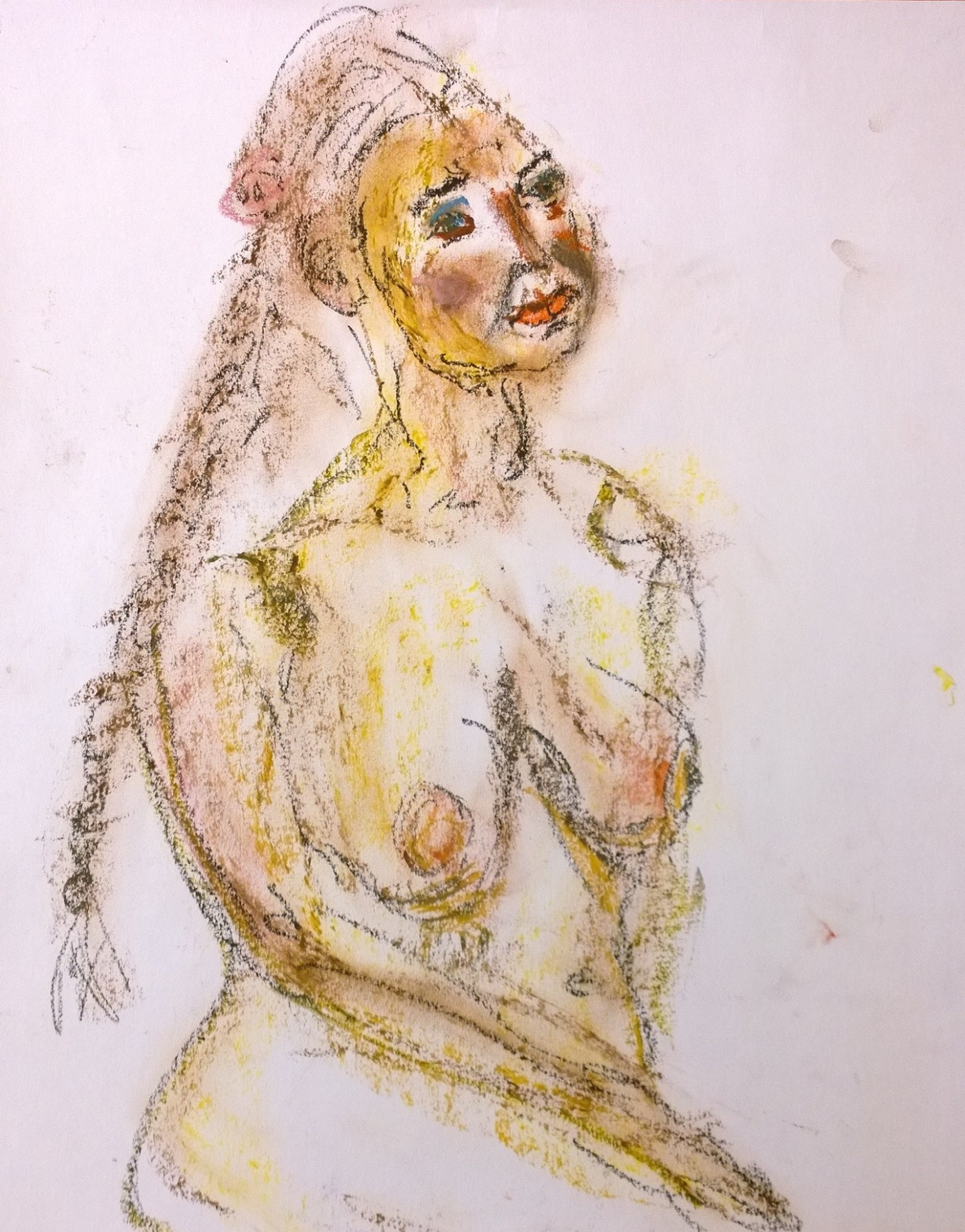 Nude with braid, color-stick and grease pen drawing by William Eaton