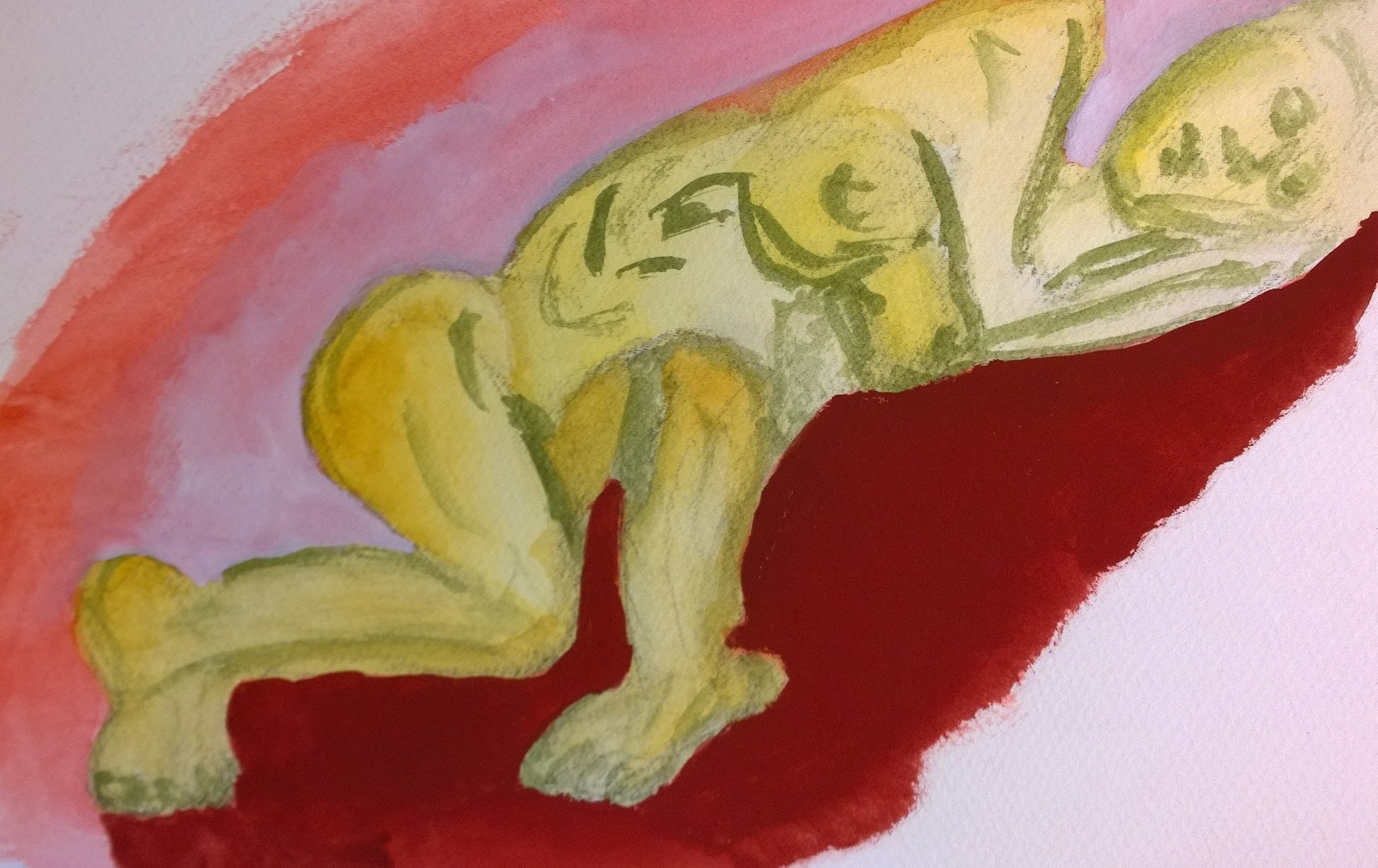 Sleeping nude encased in background, gouache painting by William Eaton
