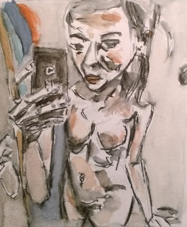 Nude with Cellphone, drawing-watercolor by William Eaton, Jan 2018