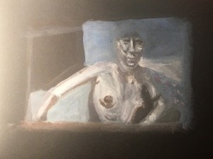 Woman (bust) on black paper, by William Eaton- 2