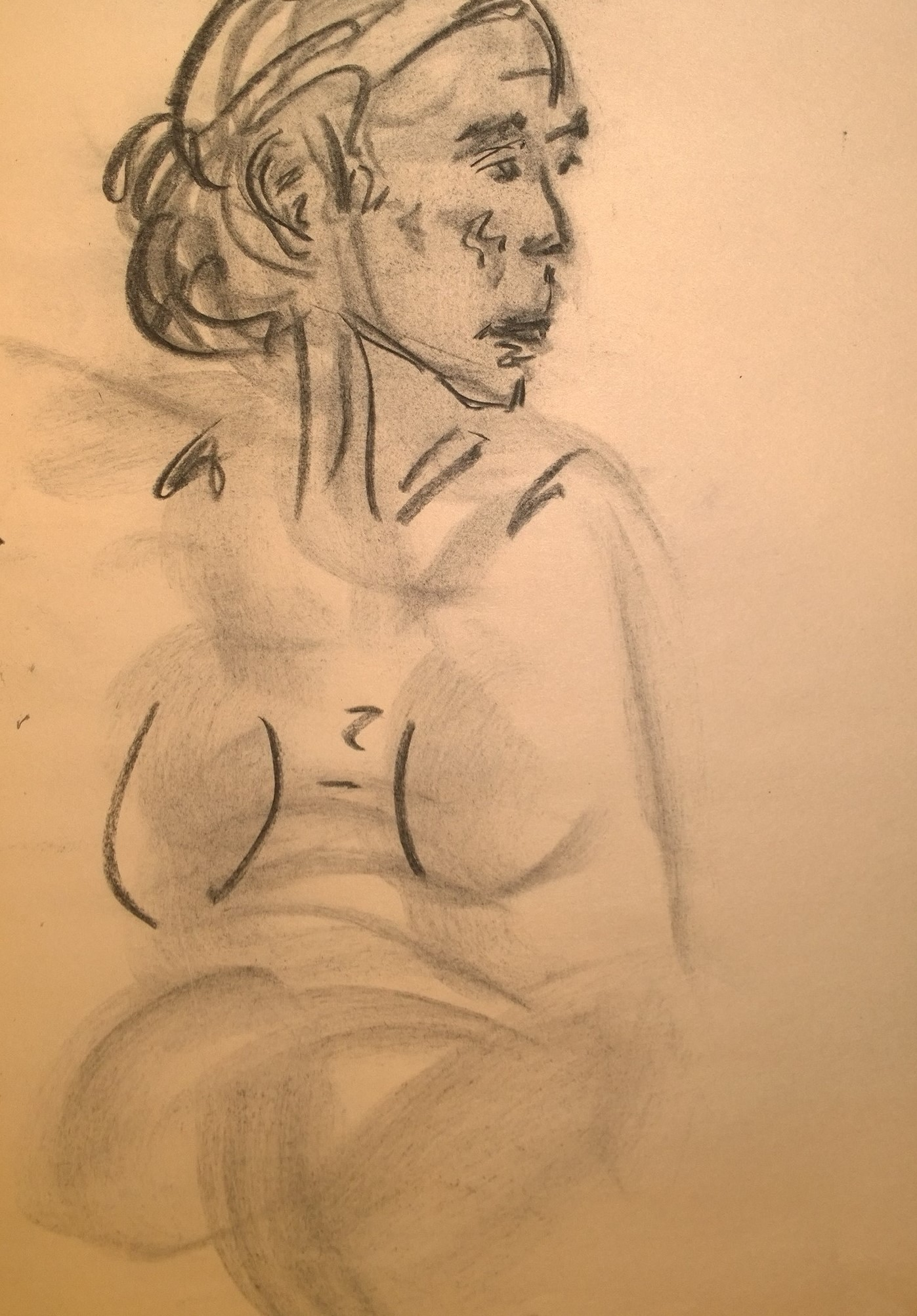 Charcoal portrait with body in light gray, by William Eaton