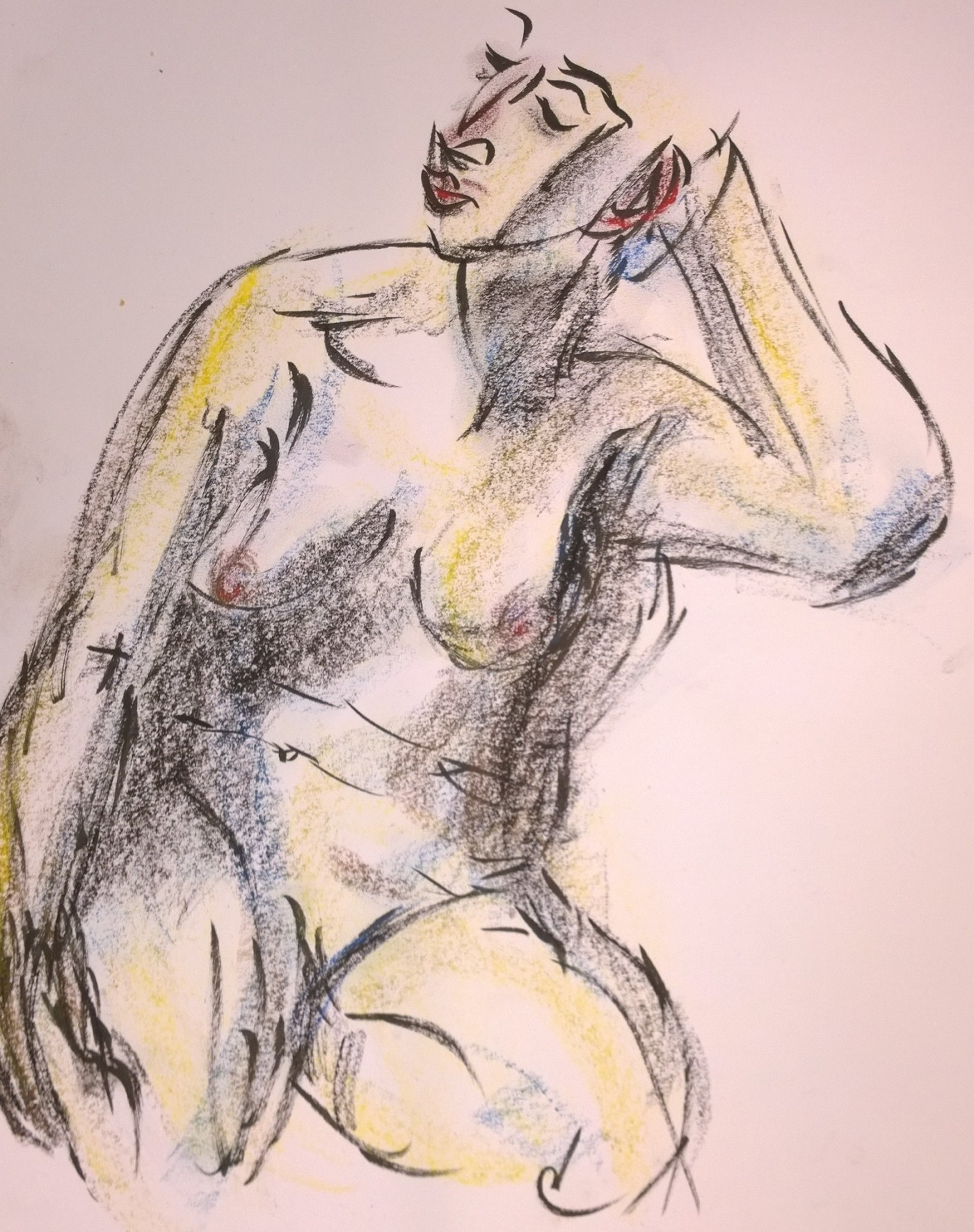 Nude model chillaxing, drawing by William Eaton