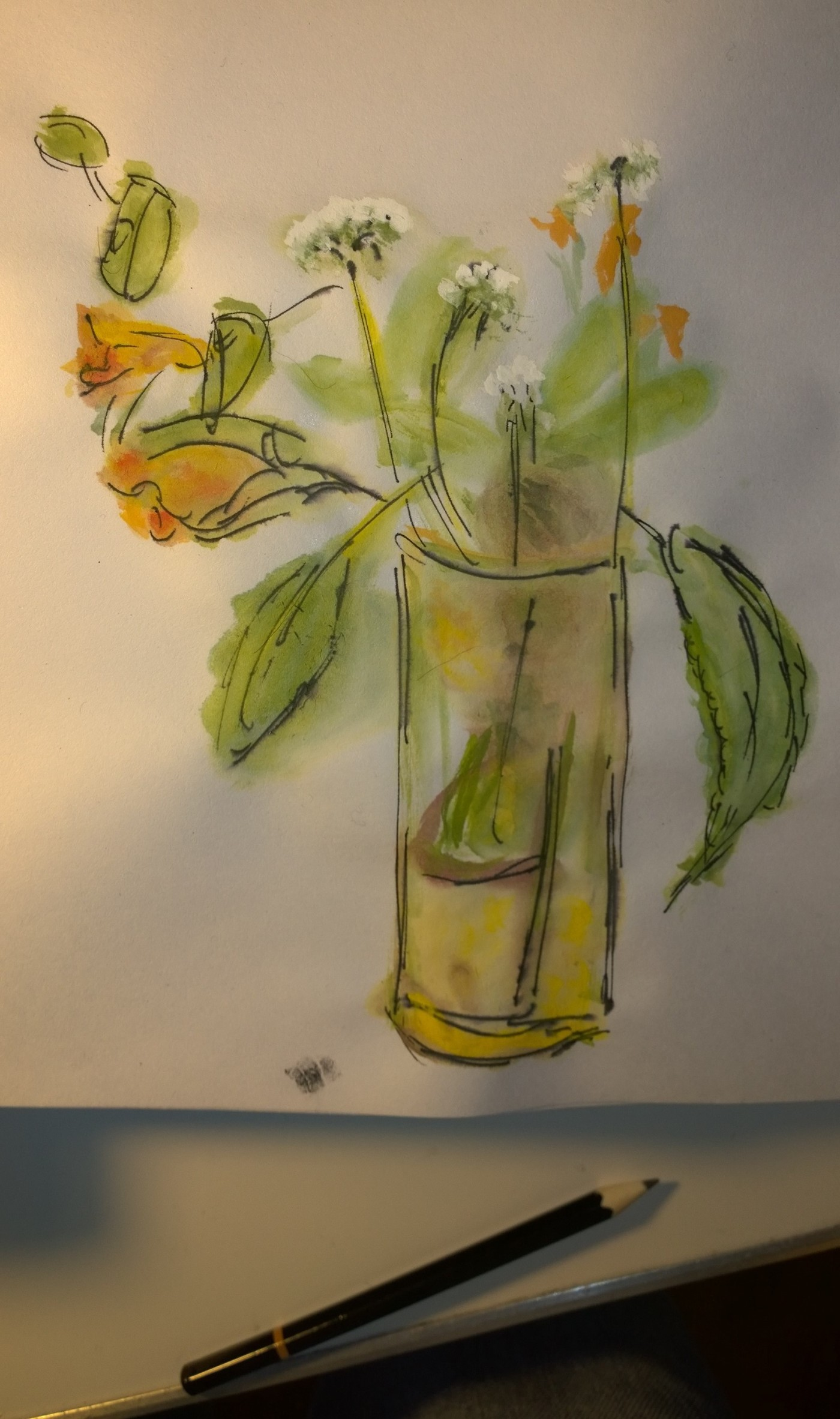 Flowers in glass, learning from the Chinese, painting by William Eaton, Byrdcliffe (photo with pencil)