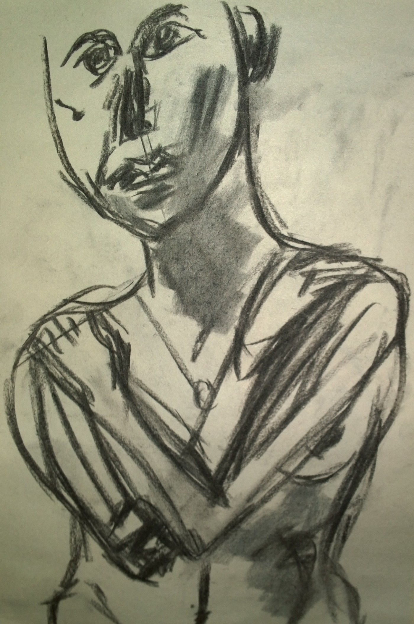 Nude modeling (young woman), charcoal drawing by William Eaton