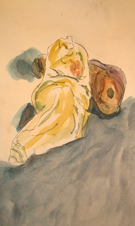 Reclining sweet potatoes, watercolor, after Rodin (erotic drawings), by William Eaton