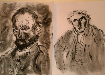 After Van Gogh (self-portrait) & Ingres (Portrait de monsieur Bertin), reed pen drawings by William Eaton