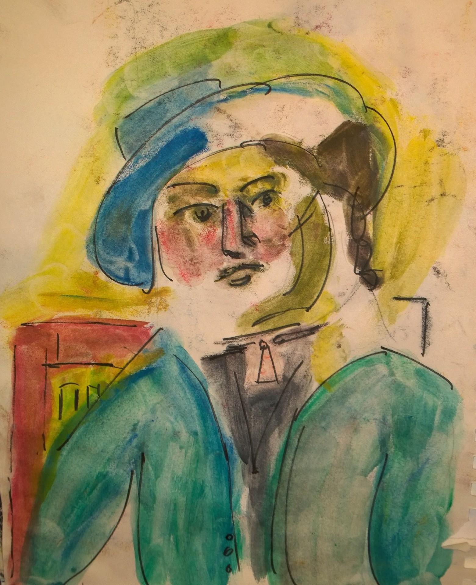"""Après Matisse, """"Marguerite au chapeau de cuir"""" (1914), drawing by William Eaton"""