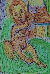 Après Luca Signorelli, Nursing Madonna, oil pastel by William Eaton, 2018