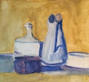 Watercolor after Morandi oil still life, by William Eaton, 2017
