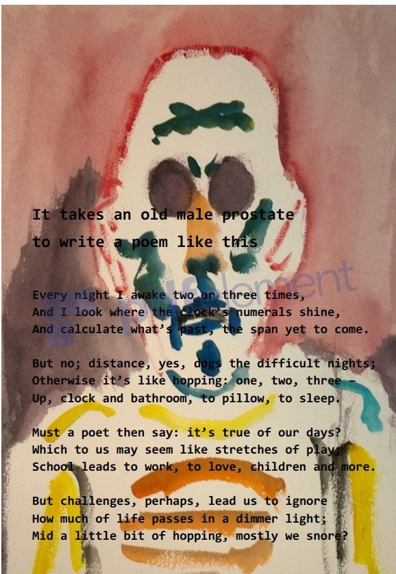 Zombie eyes, self-portrait with poem, William Eaton,  2019