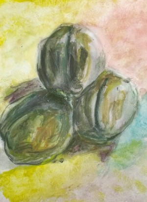 Peaches, worked and reworked watercolor by William Eaton, 2019