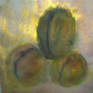 Peaches with slits, watercolor with gold by William Eaton, 2019