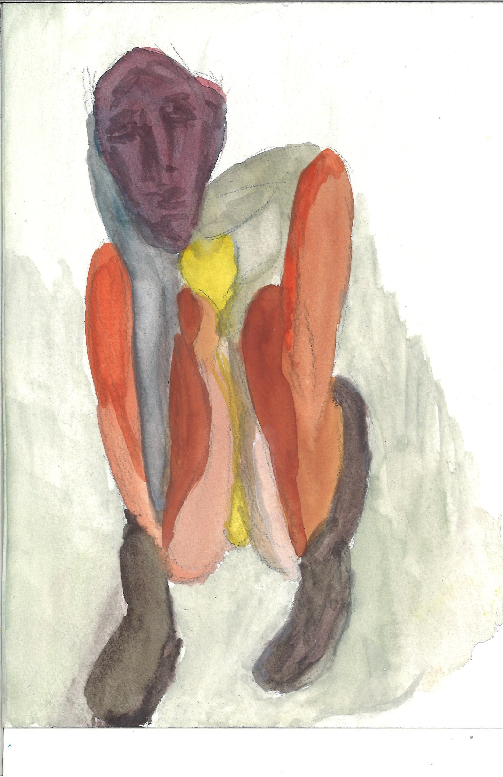 Boots, yellow crotch, yellow heart - watercolor by William Eaton, 2019