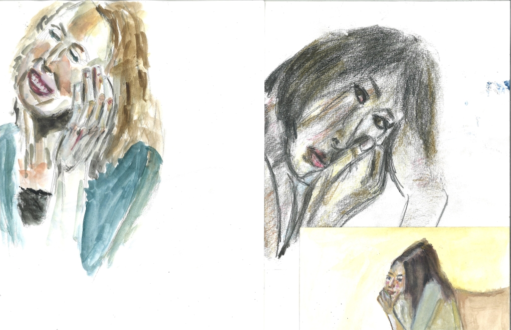 Steph, Chandler, Britt - faces with hands, by William Eaton, Dec 2019