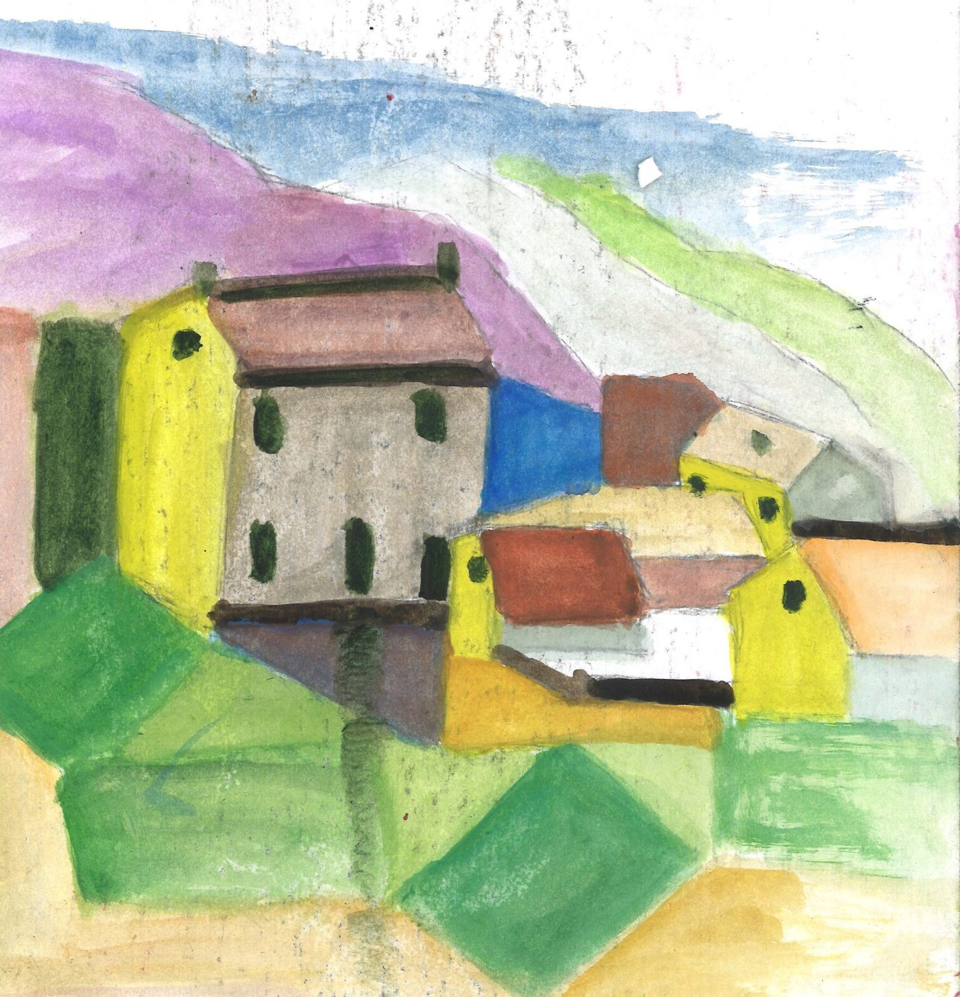 Chez Titi, watercolor on cardboard, after A Fassotte photo and Klee watercolor, , by William Eaton, March 2020