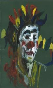 Zoé en clown, 21 mai 2020, aquarelle par William Eaton (papier vert)