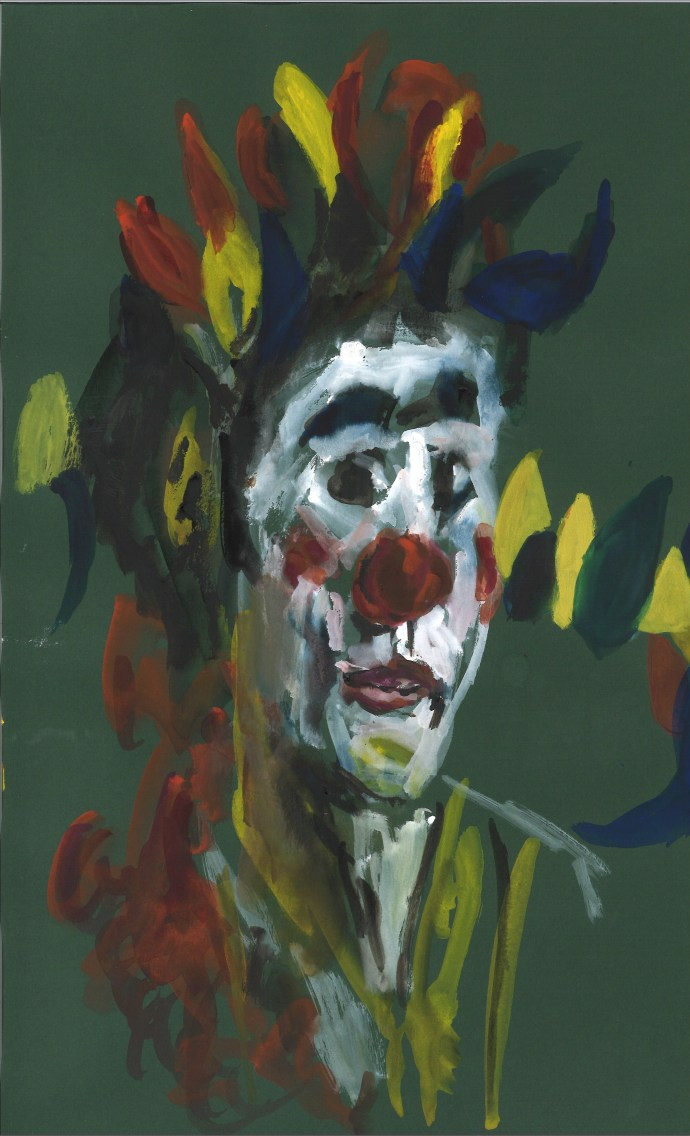 Zoé en clown, 21 mai 2020, aquarelle par William Eaton (papier vert)