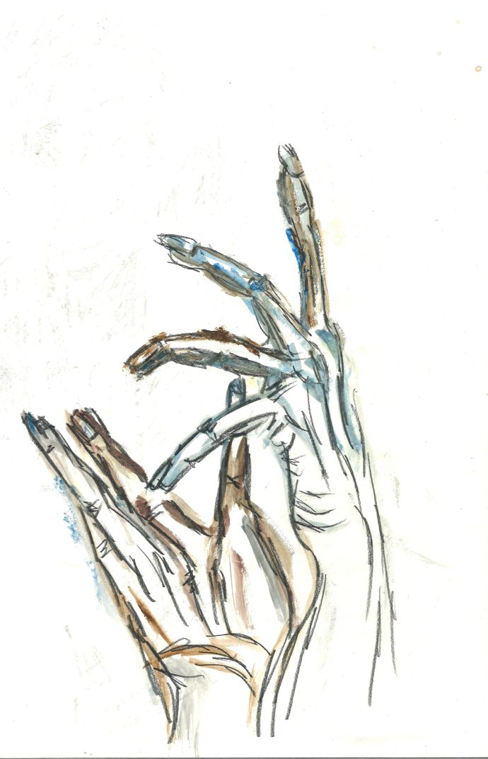 Maria's hands, 2020, by William Eaton